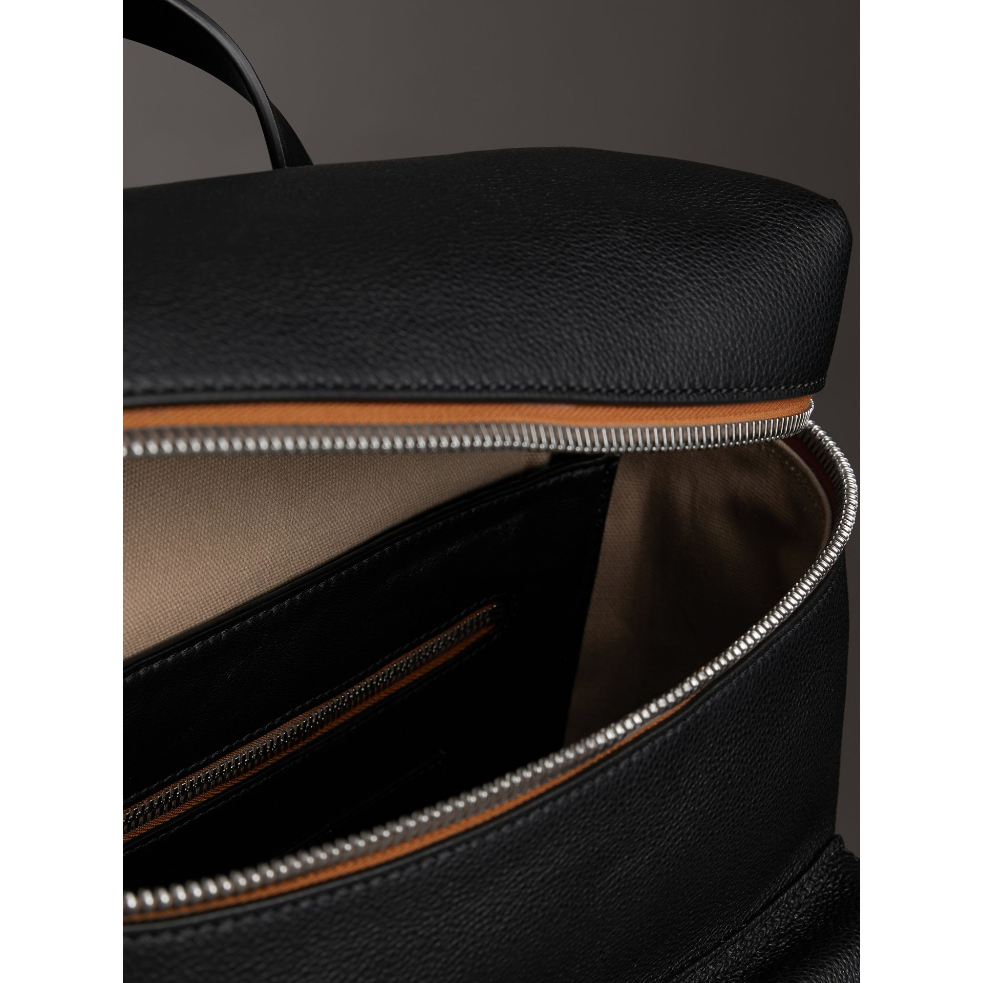 Zip-top Leather Backpack in Black - Men | Burberry Australia - gallery image 5