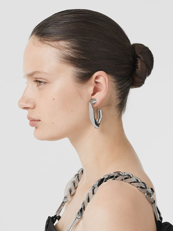 Large Palladium-plated Chain Link Earrings in Palladio - Women | Burberry Australia - cell image 2