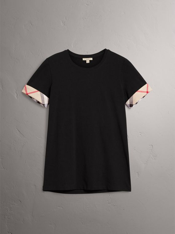 Check Cuff Stretch Cotton T-Shirt in Black - Women | Burberry Singapore - cell image 3