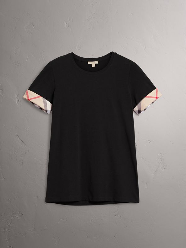 Check Cuff Stretch Cotton T-Shirt in Black - Women | Burberry United Kingdom - cell image 3