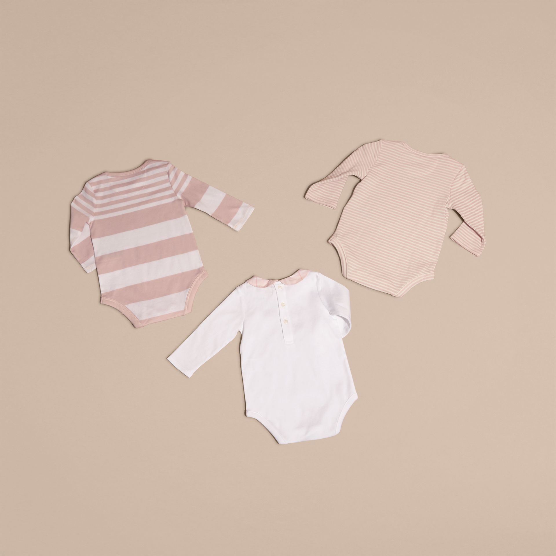 Patterned Cotton Blend Three-piece Baby Gift Set in Powder Pink - Children | Burberry - gallery image 3