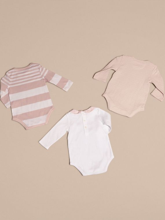 Patterned Cotton Blend Three-piece Baby Gift Set in Powder Pink - Children | Burberry - cell image 2