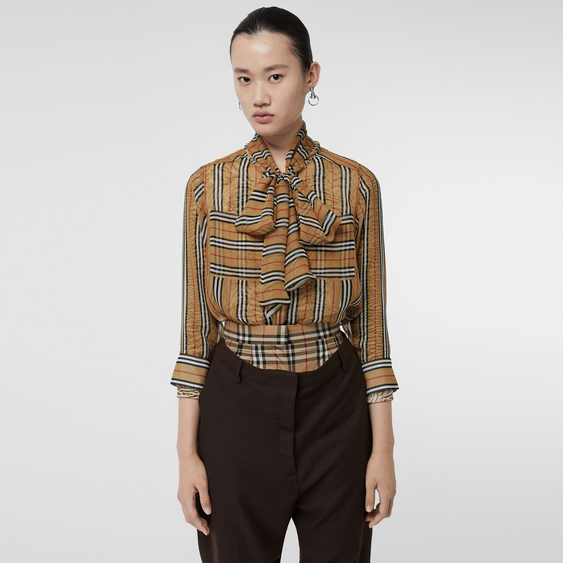 Icon Stripe Silk Pussy-bow Blouse in Antique Yellow - Women | Burberry - gallery image 0