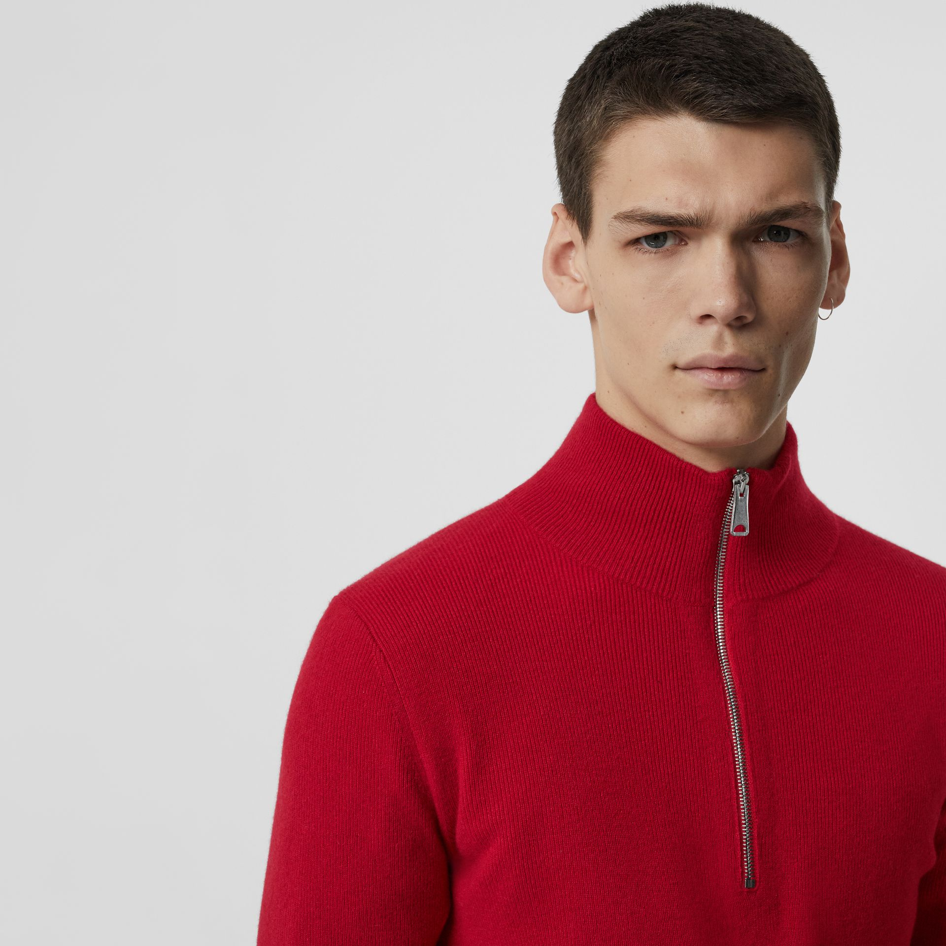 Rib Knit Cashmere Half-zip Sweater in Military Red - Men | Burberry - gallery image 1