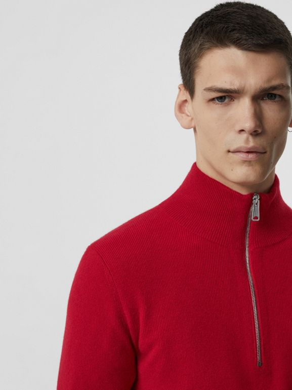 Rib Knit Cashmere Half-zip Sweater in Military Red - Men | Burberry - cell image 1