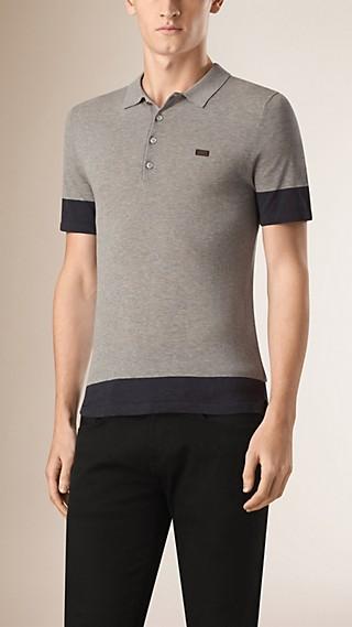 Two-Tone Cotton Polo Shirt