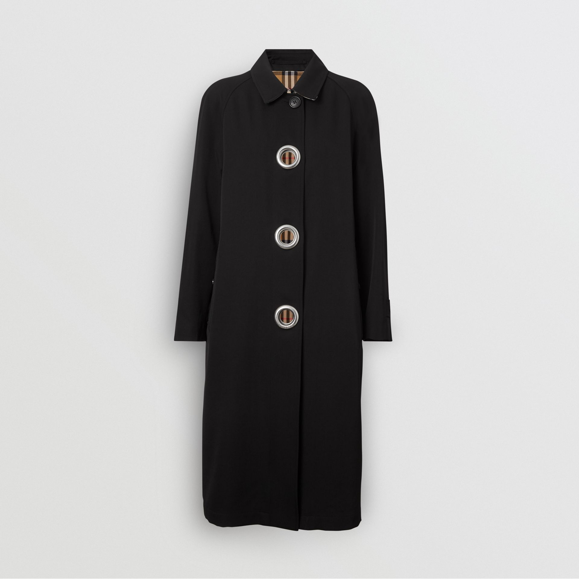 Grommet Detail Wool Gabardine Car Coat in Black - Women | Burberry United Kingdom - gallery image 3