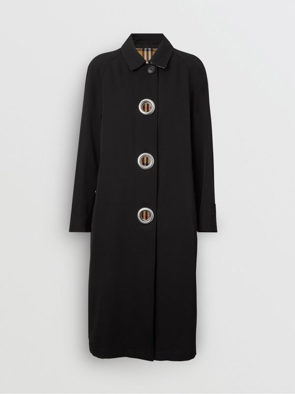 Grommet Detail Wool Gabardine Car Coat in Black - Women | Burberry Canada - cell image 3