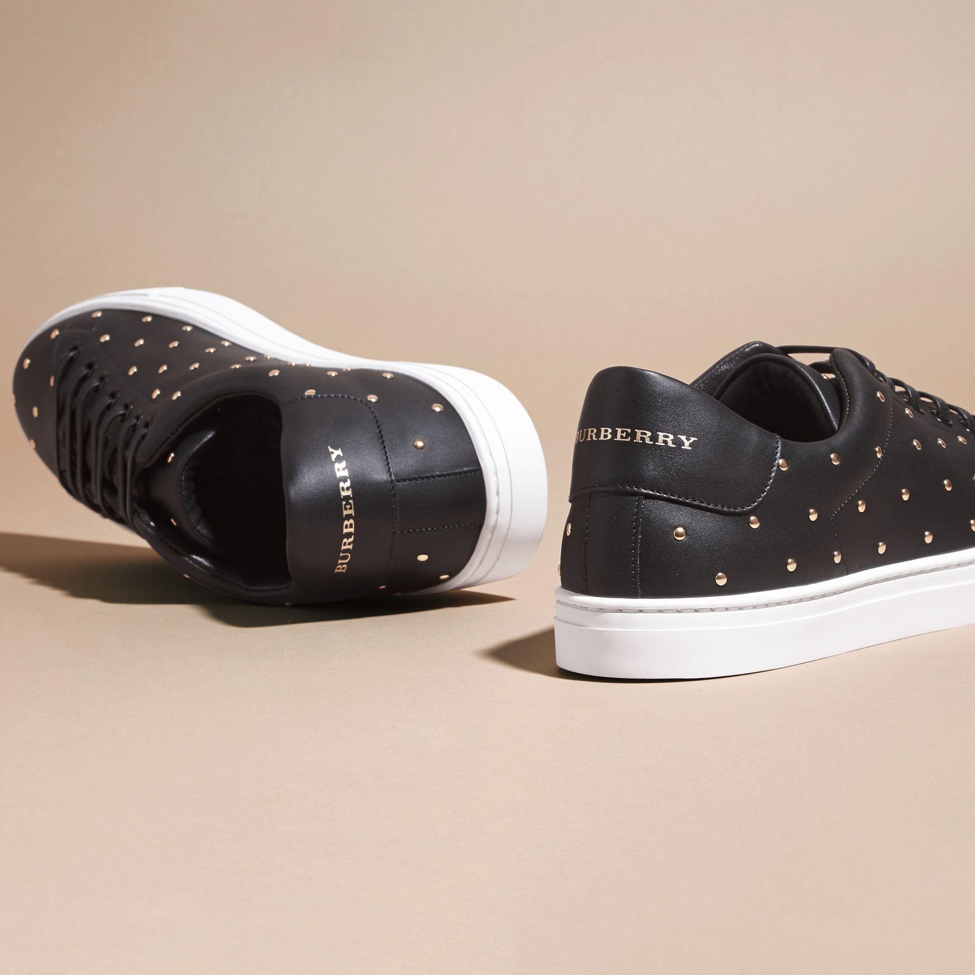 Black Studded Leather Sneakers - gallery image 4