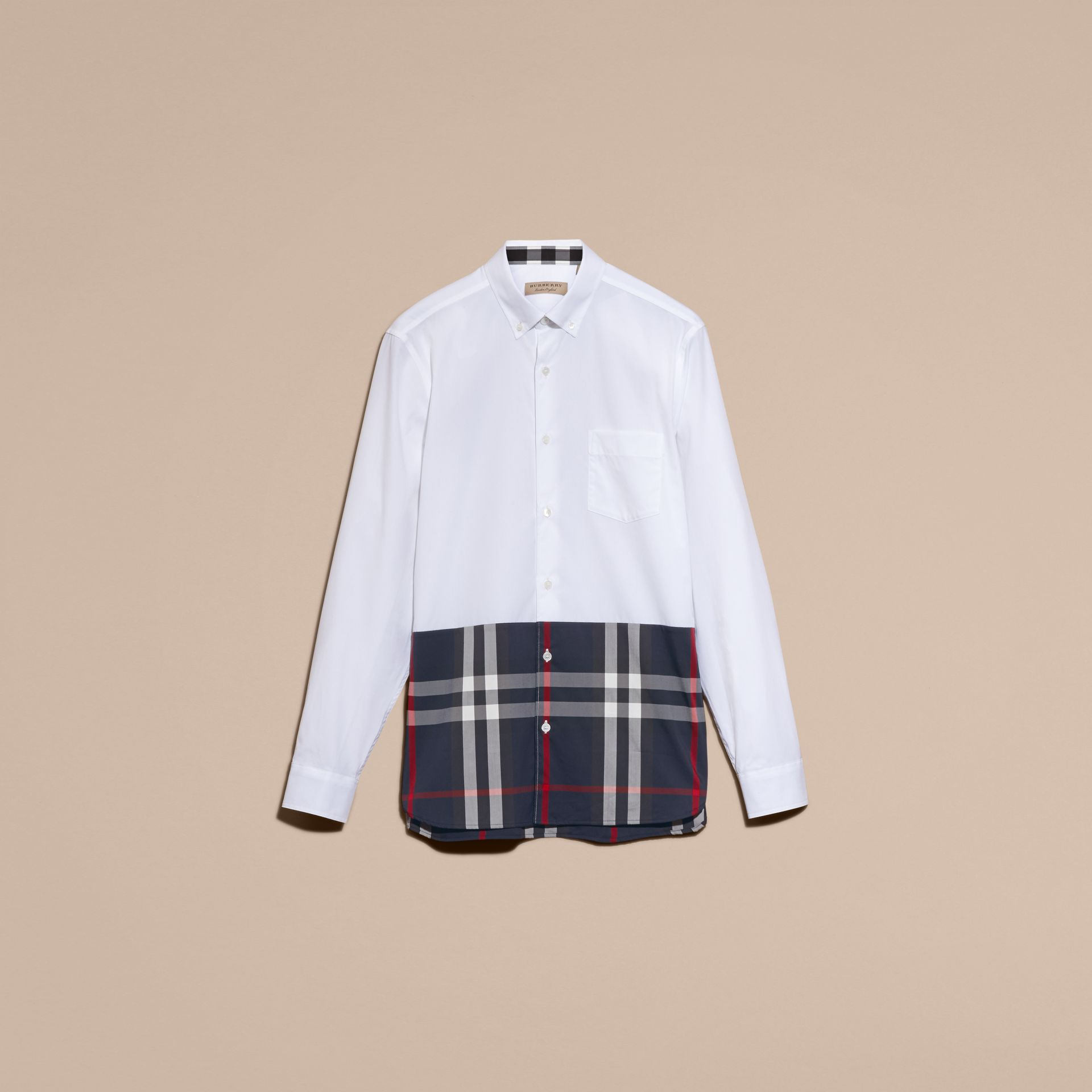 Check Panel Stretch-Cotton Poplin Shirt in White - gallery image 4