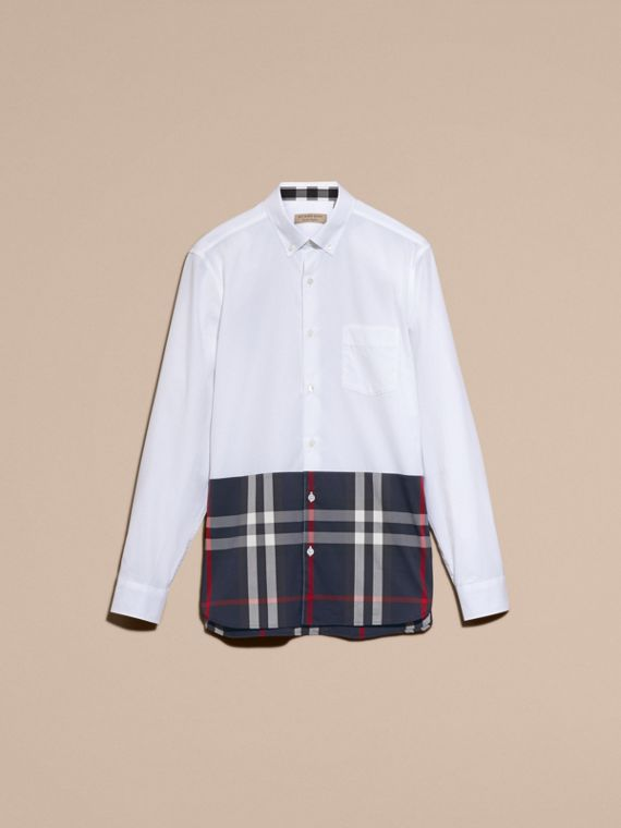 Check Panel Stretch-Cotton Poplin Shirt in White - cell image 3