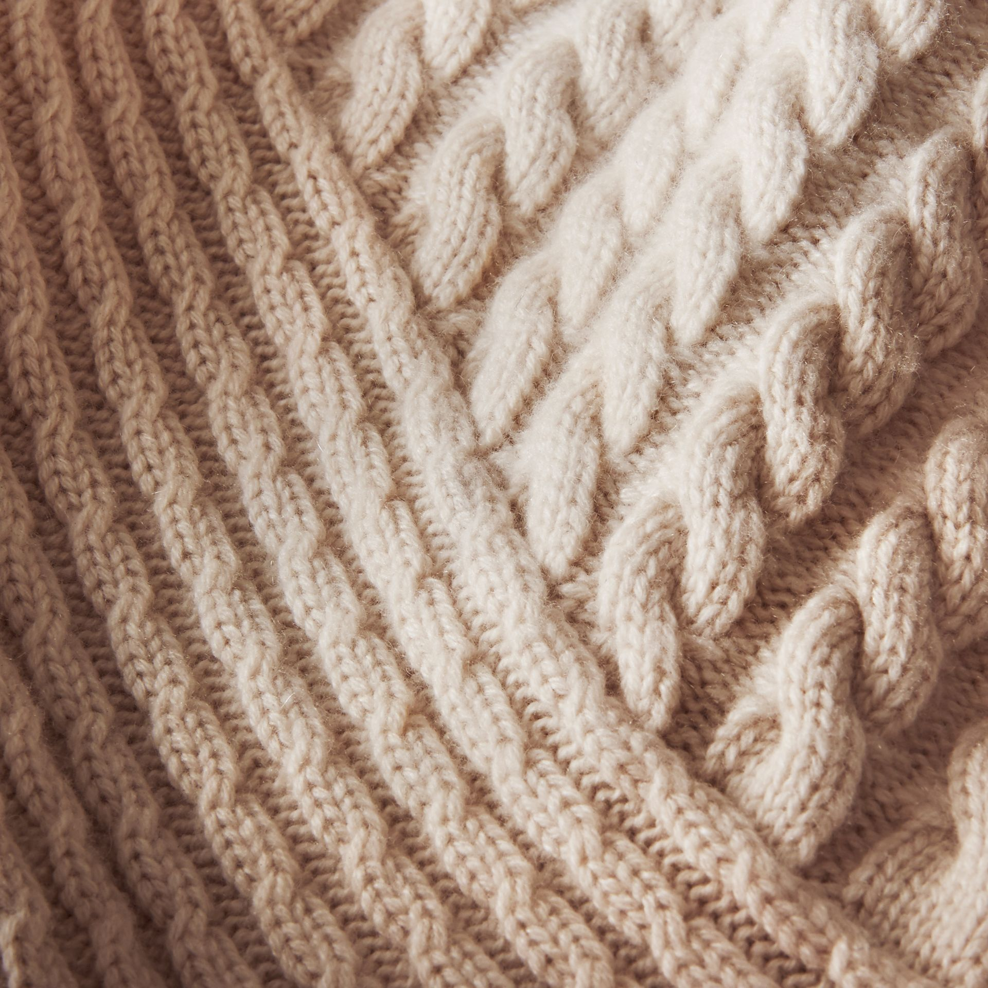 One-shoulder Cable Knit Cashmere Sweater in Natural White - Women | Burberry - gallery image 2