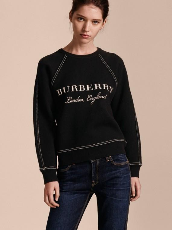 Sweat-shirt en laine et cachemire mélangés avec surpiqûres