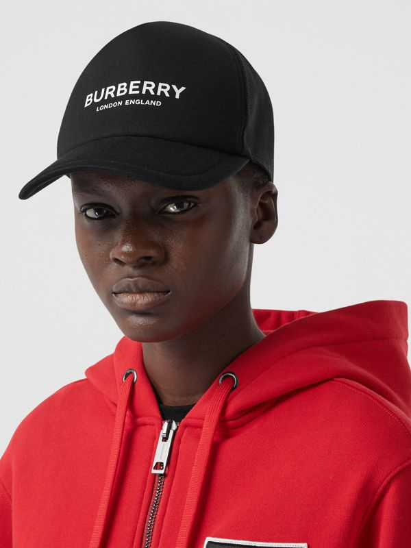 Logo Print Baseball Cap in Black | Burberry - cell image 2