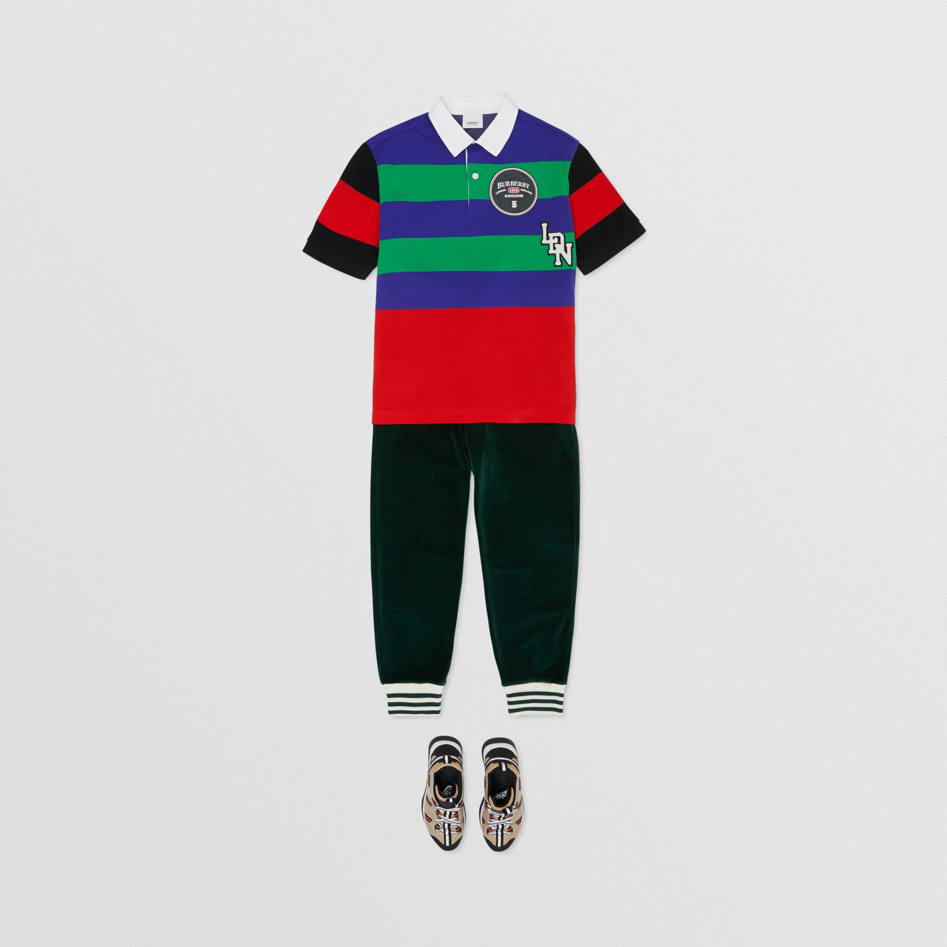 Logo Graphic Striped Cotton Piqué Polo Shirt in Multicolour | Burberry - gallery image 2