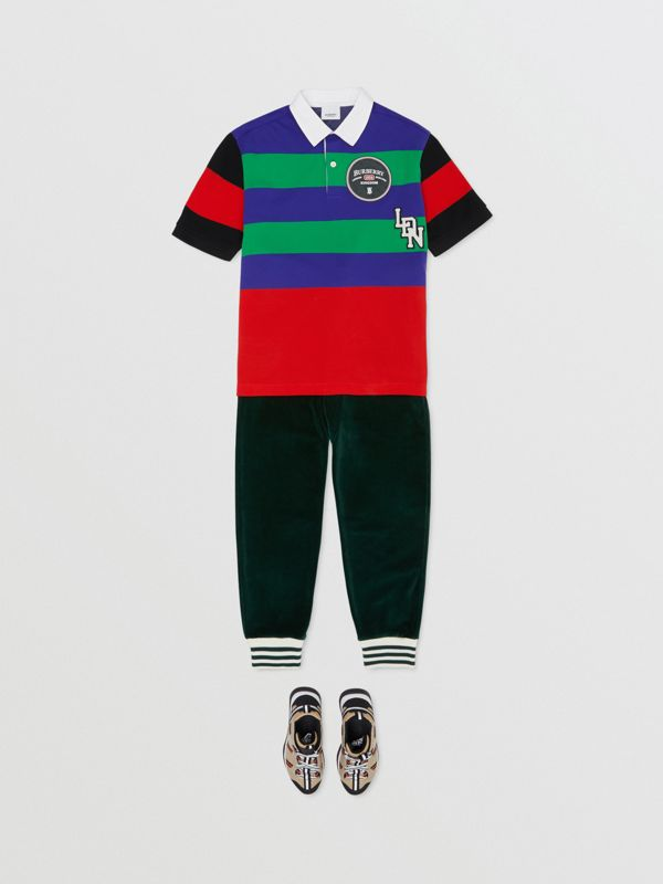 Logo Graphic Striped Cotton Piqué Polo Shirt in Multicolour | Burberry - cell image 2