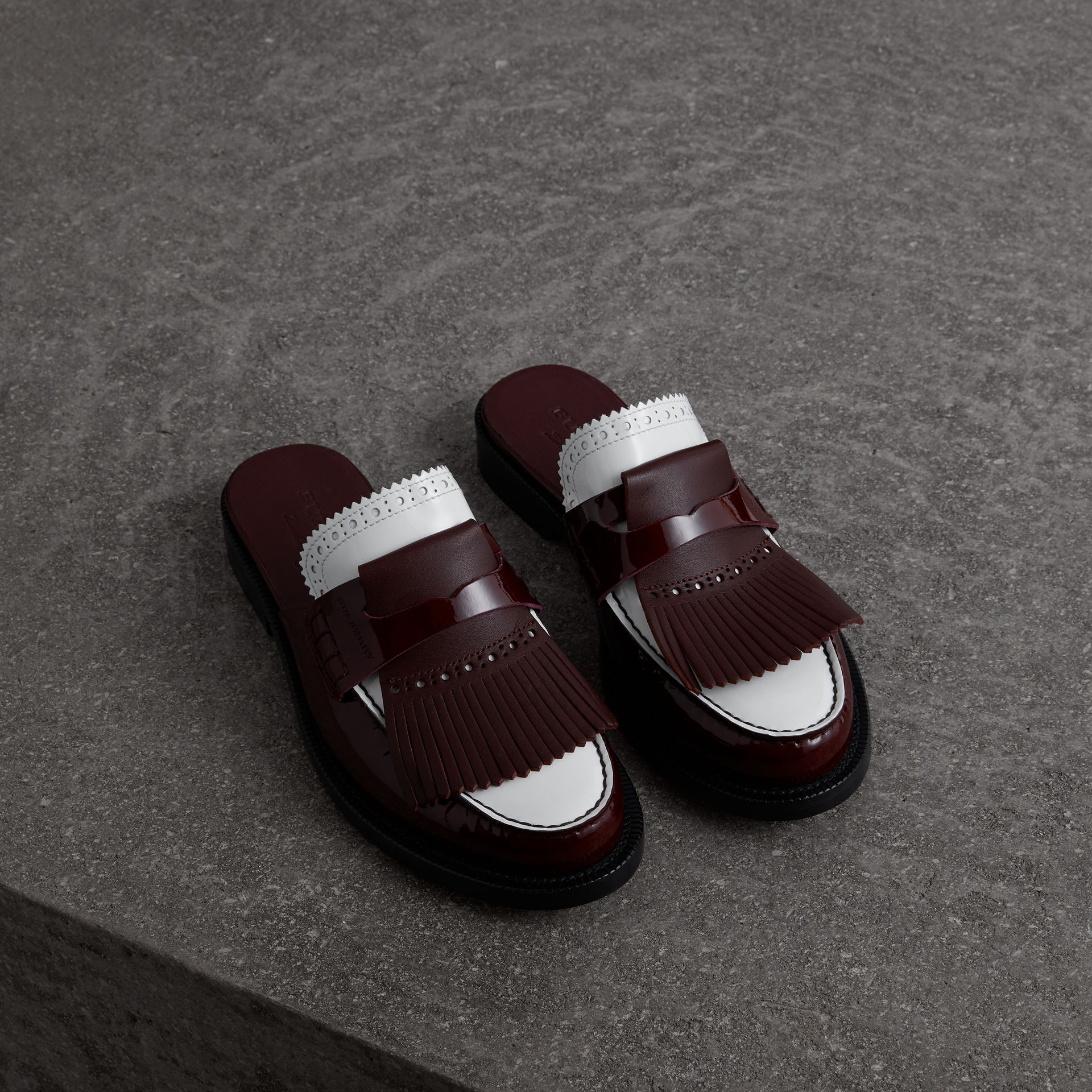Tri-tone Kiltie Fringe Leather Mules in Burgundy Red - Women | Burberry Australia - gallery image 0