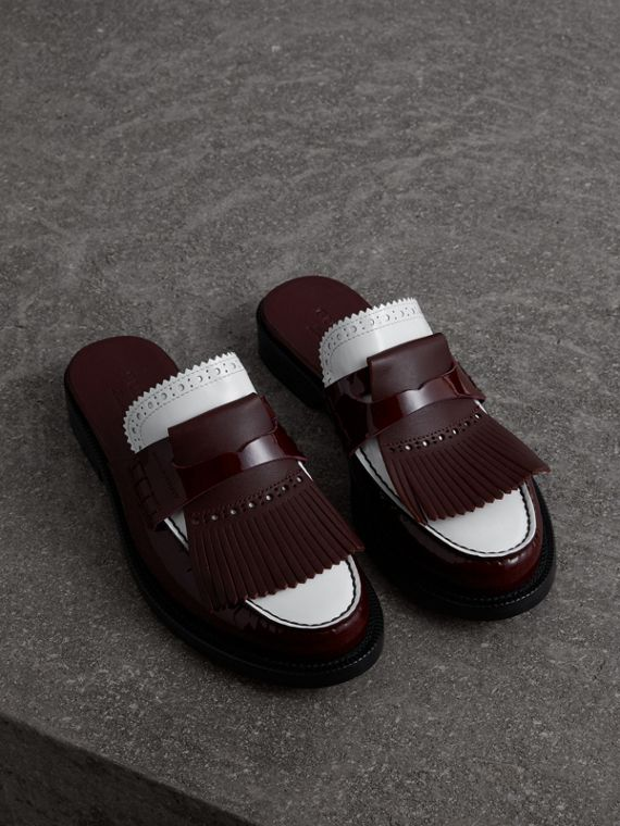 Tri-tone Kiltie Fringe Leather Mules in Burgundy Red