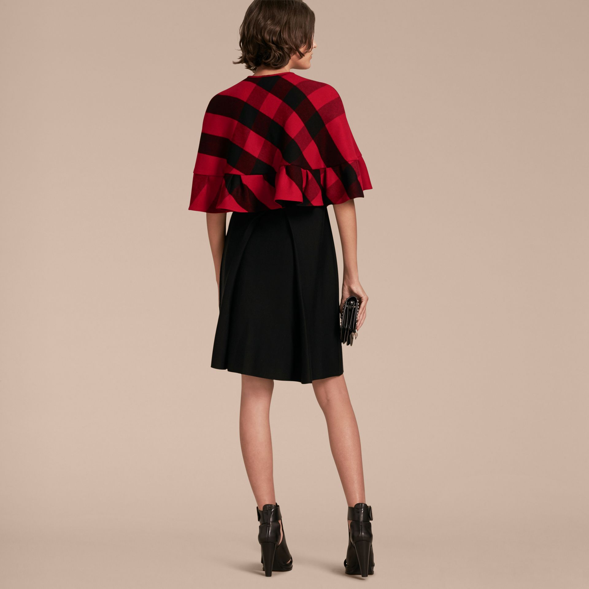 Ruffled Hem Check Wool Cape in Parade Red - gallery image 3