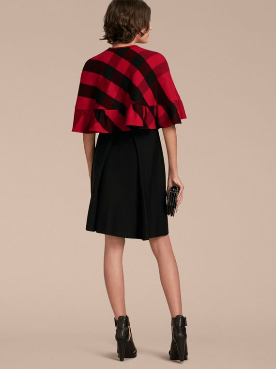 Ruffled Hem Check Wool Cape in Parade Red - cell image 2