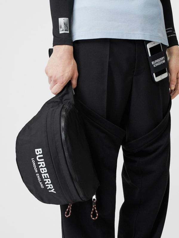 Logo Print Convertible Bum Bag in Black | Burberry Australia - cell image 3