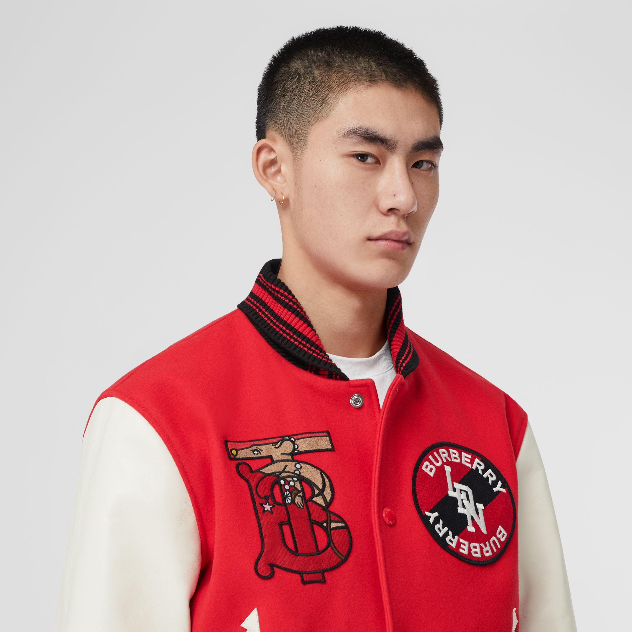 Contrast Sleeve Monogram Motif Wool Bomber Jacket in Bright Red - Men | Burberry Hong Kong S.A.R. - 2