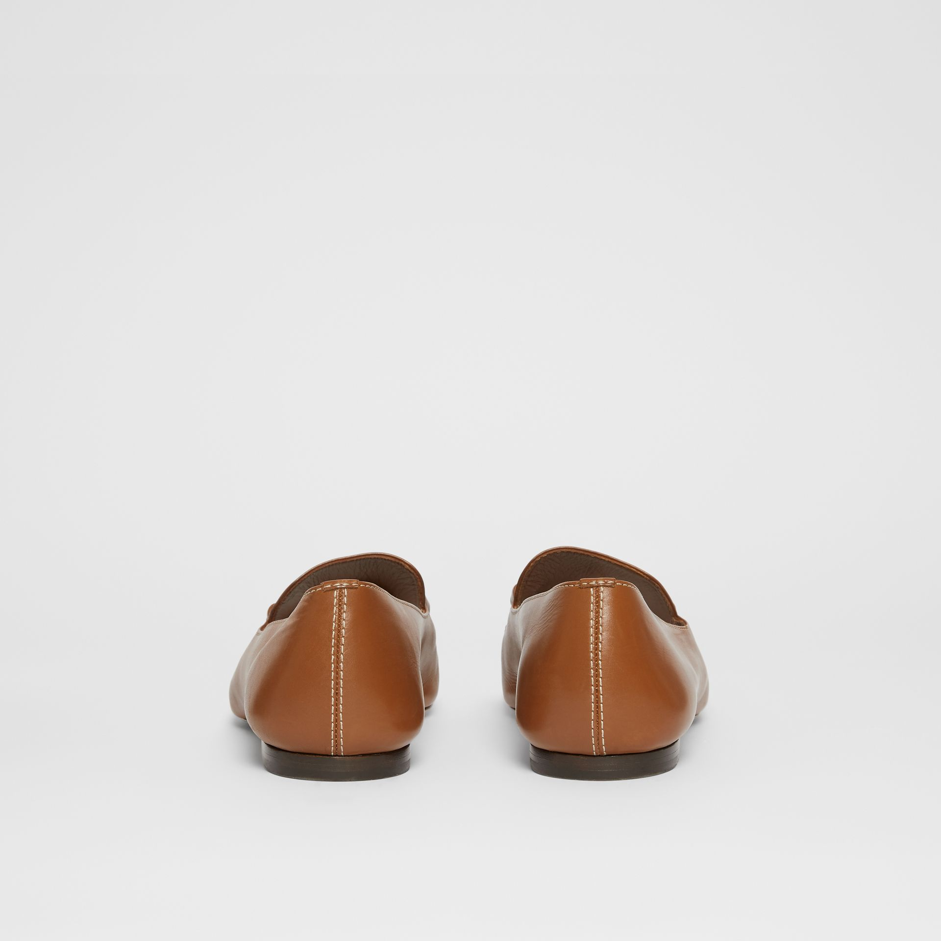 Monogram Motif Leather Loafers in Tan - Women | Burberry United Kingdom - gallery image 4