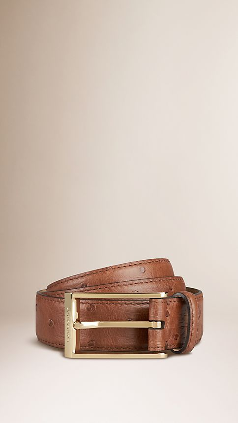 Brown ochre Ostrich Leather Belt - Image 1
