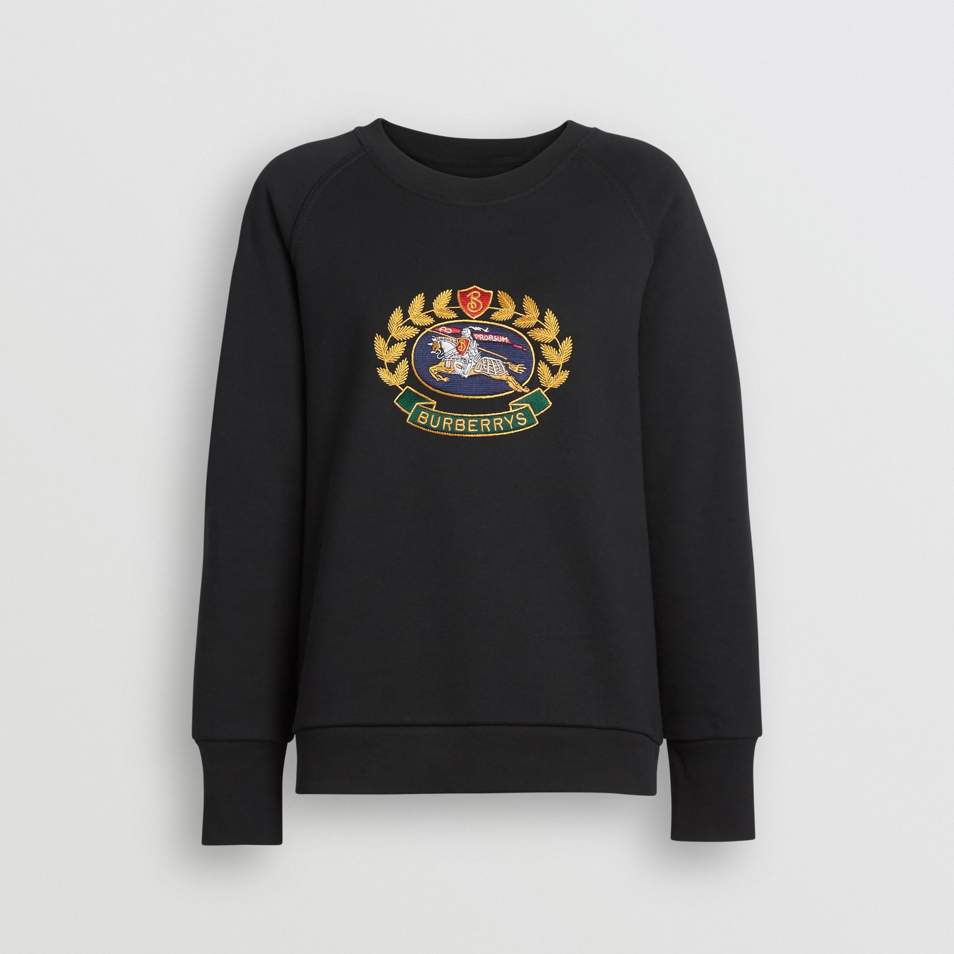 Embroidered Archive Logo Cotton Blend Sweatshirt in Black - Women | Burberry - gallery image 3