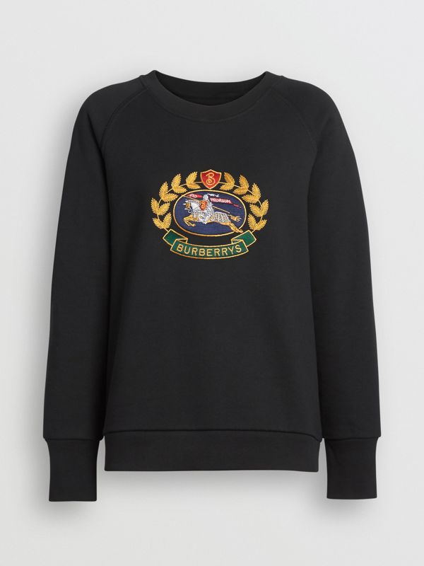 Embroidered Archive Logo Cotton Blend Sweatshirt in Black - Women | Burberry - cell image 3