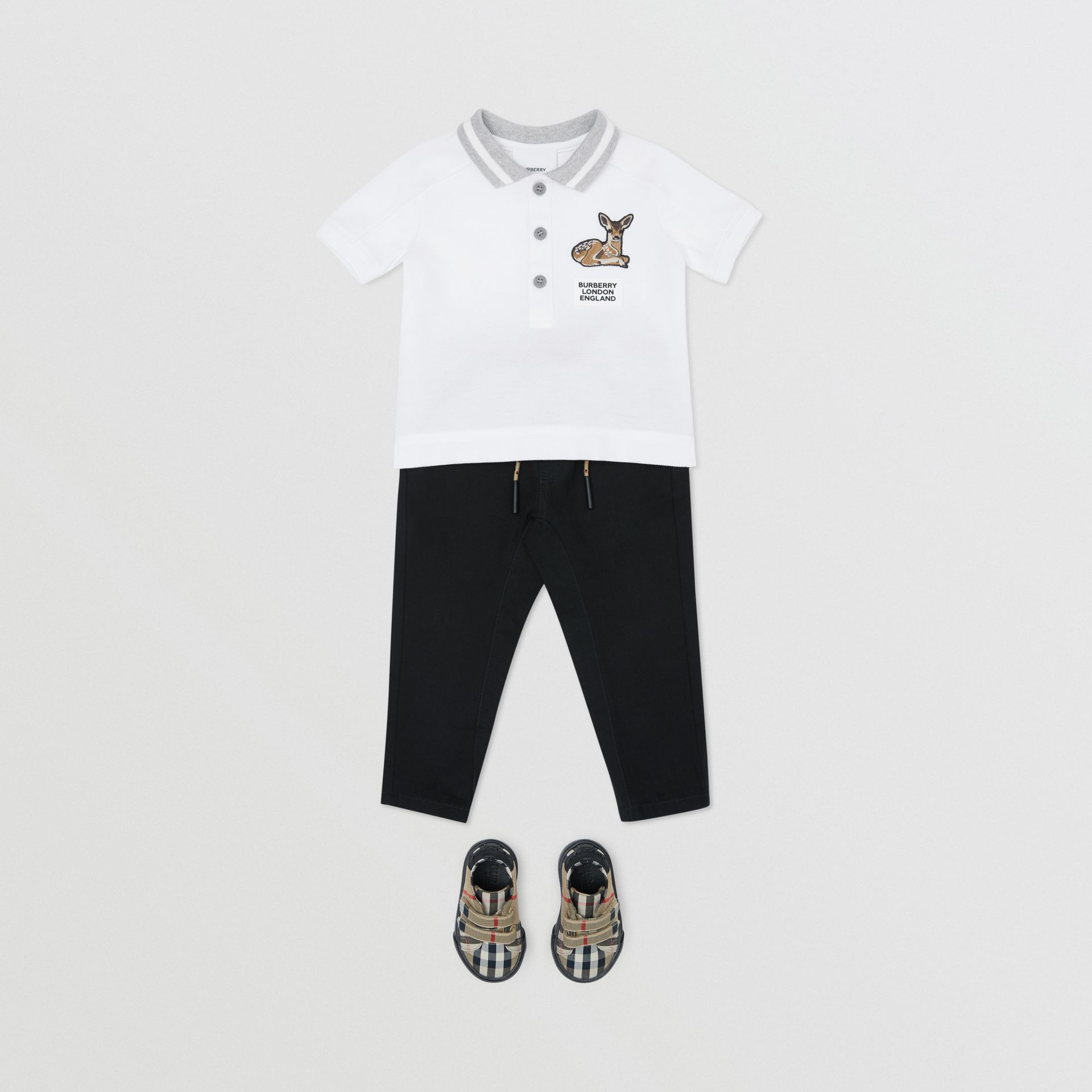 Deer Motif Cotton Polo Shirt in White - Children | Burberry Canada - gallery image 2