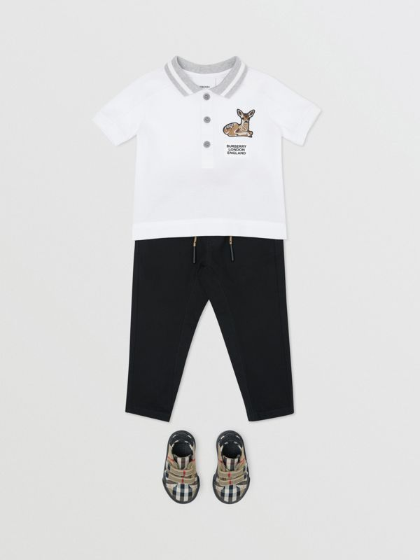 Deer Motif Cotton Polo Shirt in White - Children | Burberry Canada - cell image 2
