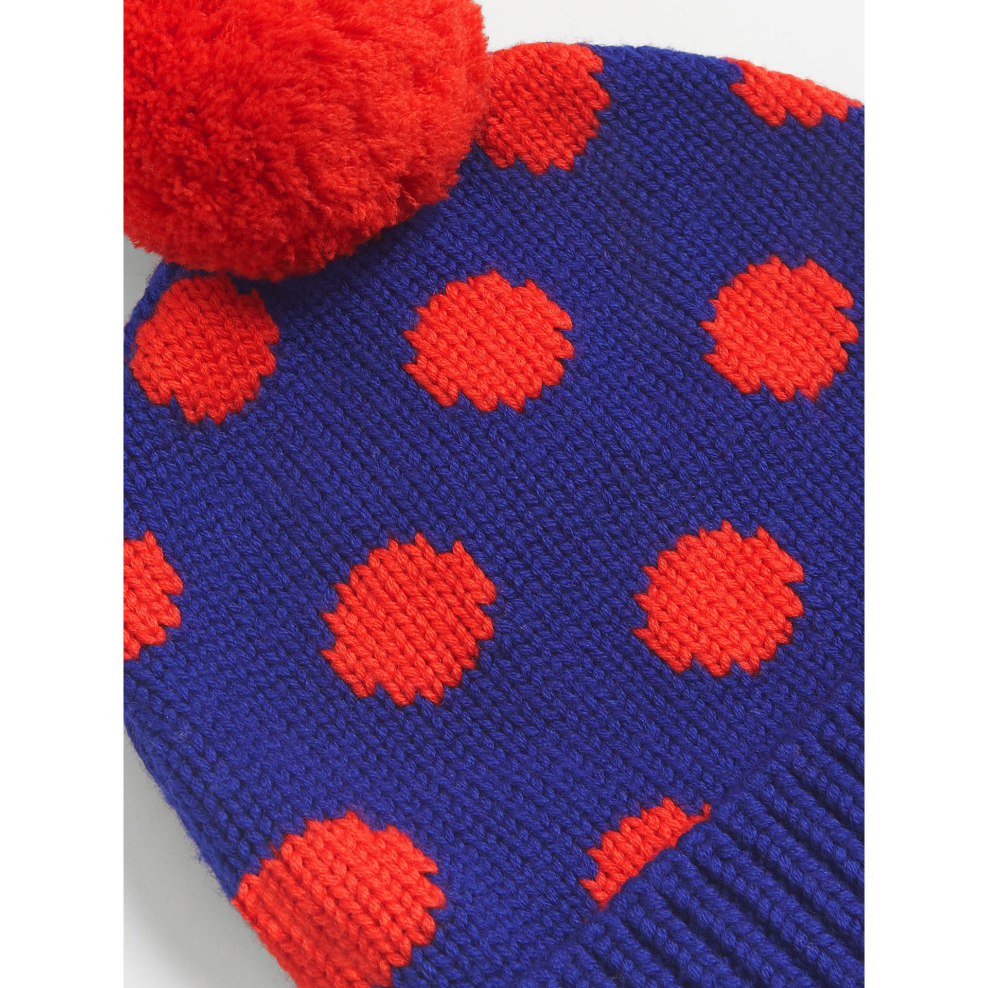 Polka Dot Wool Turnback Beanie in Dark Blue | Burberry Australia - gallery image 3