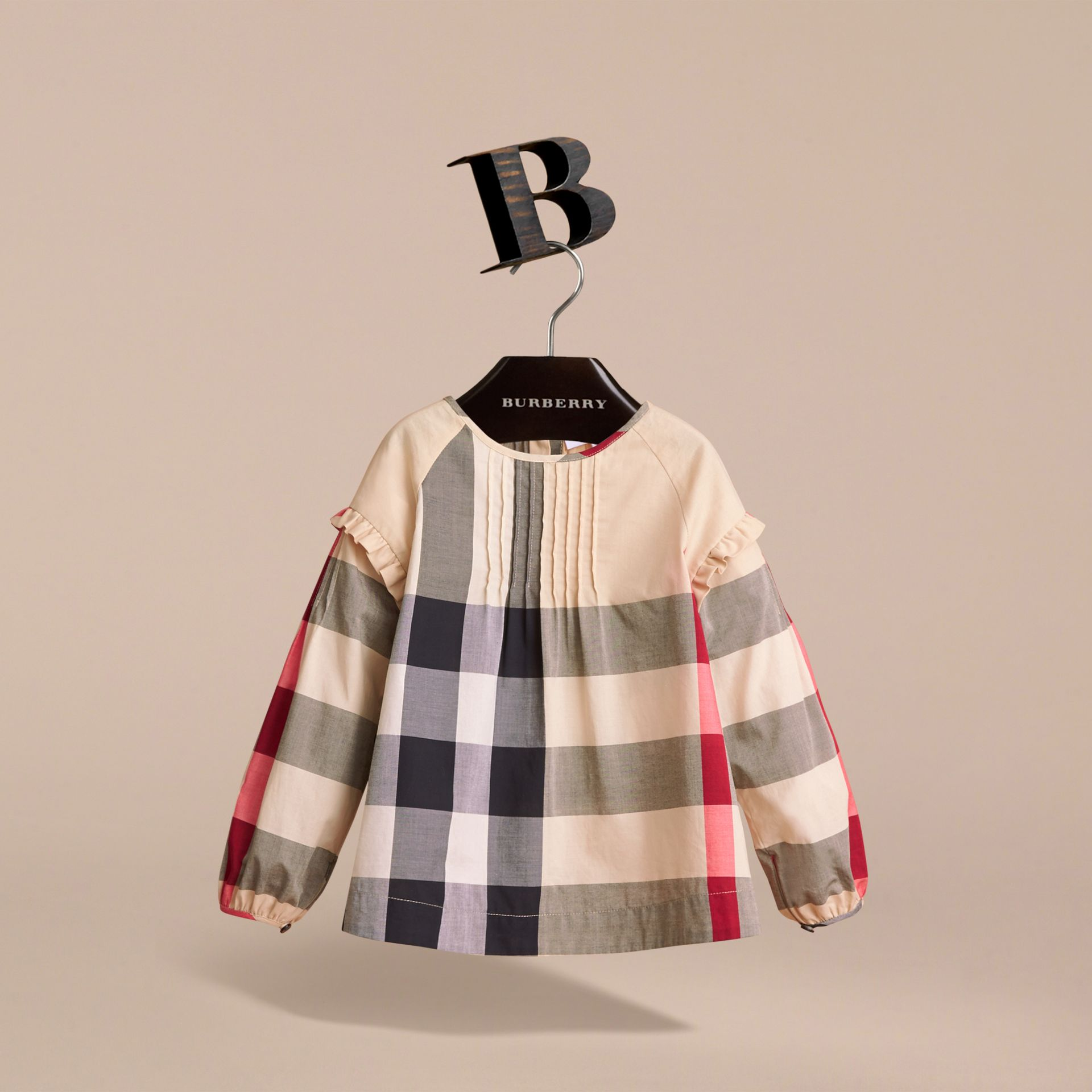 Pintuck Detail Check Cotton Top in New Classic - Girl | Burberry Canada - gallery image 3