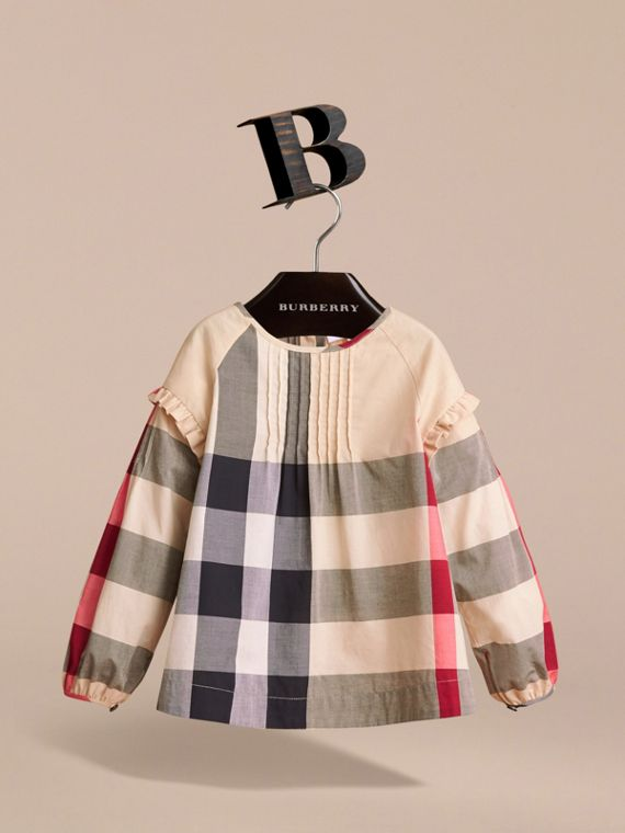 Pintuck Detail Check Cotton Top in New Classic - Girl | Burberry - cell image 2