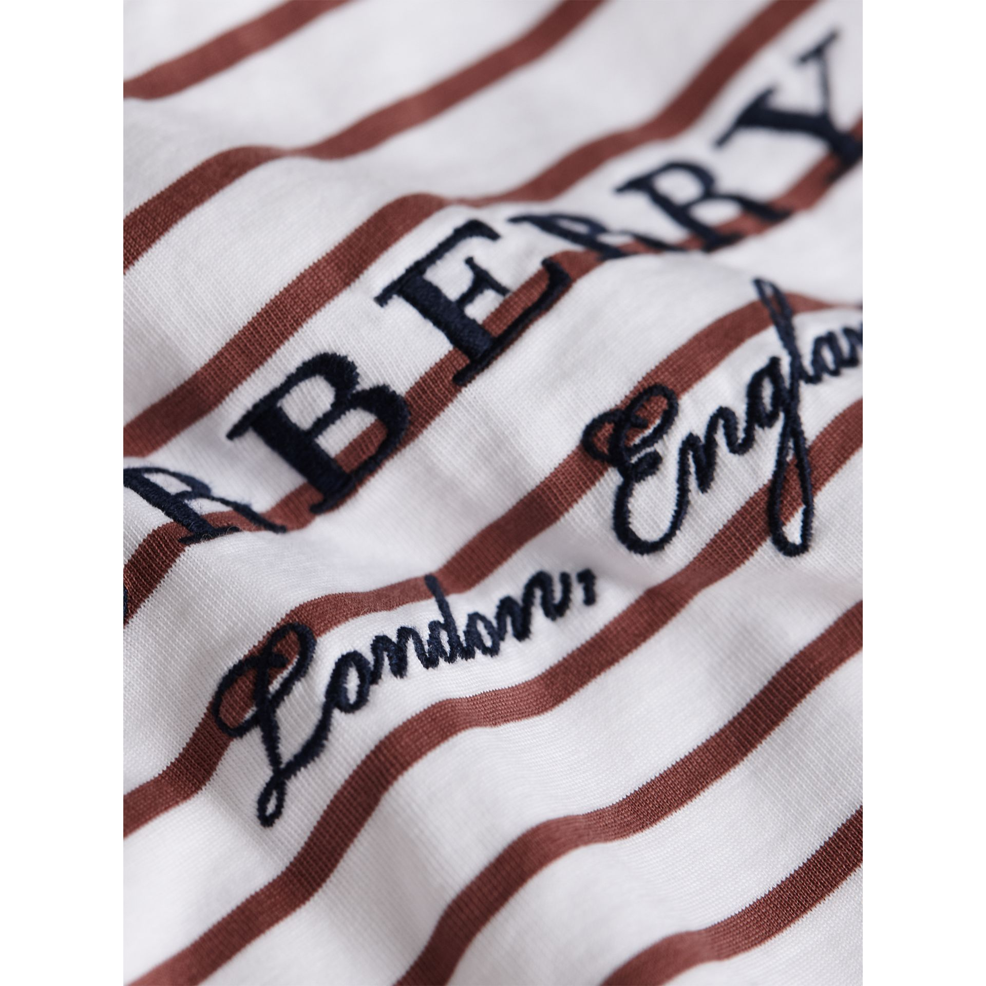 Embroidered Motif Striped Cotton Top in Antique Rose/white | Burberry - gallery image 2