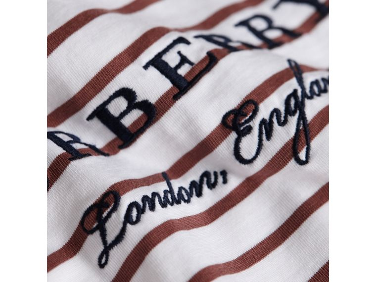 Embroidered Motif Striped Cotton Top in Antique Rose/white | Burberry - cell image 1