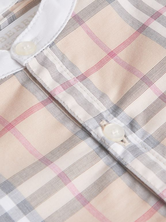 Bib Detail Check Cotton Jumpsuit in Pale Stone - Children | Burberry - cell image 1