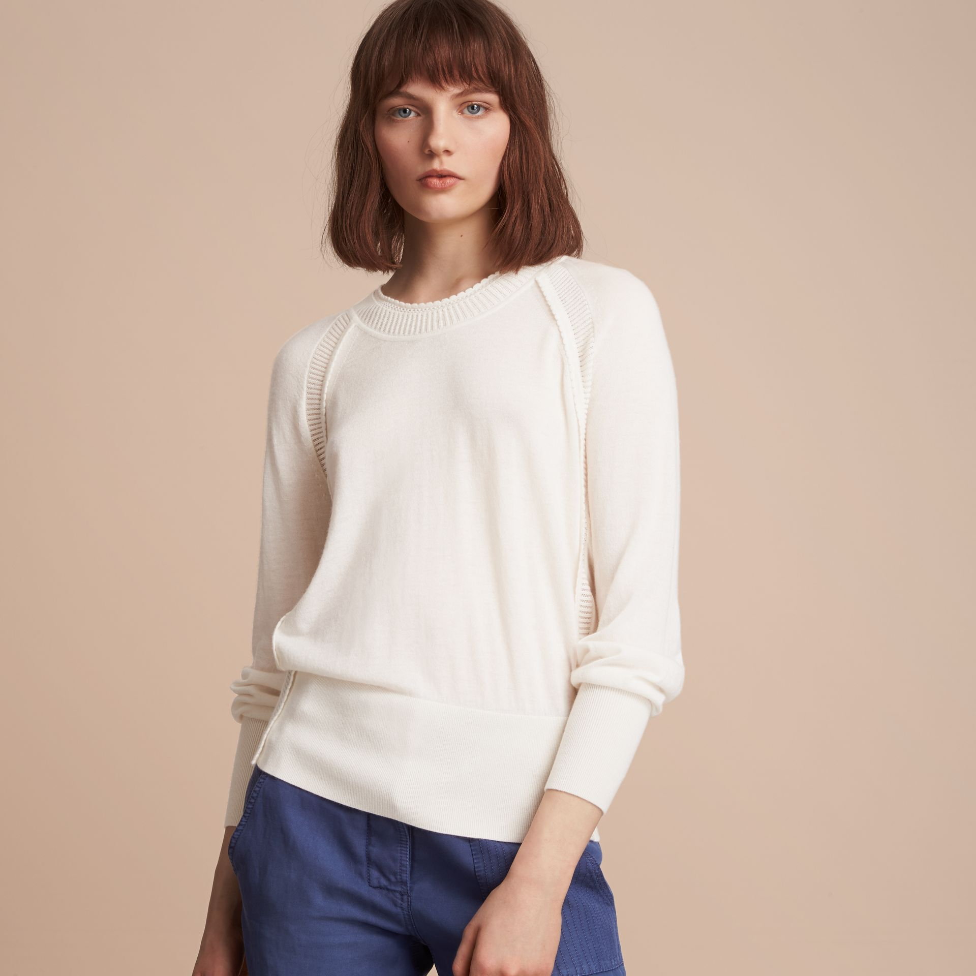 Open-knit Detail Cashmere Crew Neck Sweater Natural White - gallery image 6