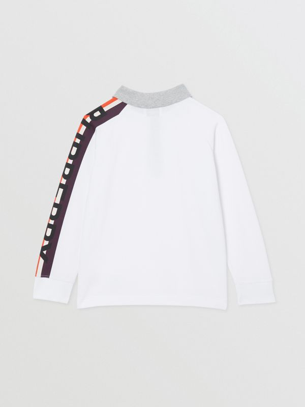Long-sleeve Logo Print Cotton Polo Shirt in White | Burberry - cell image 3