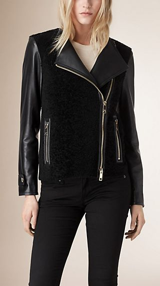 Shaved Shearling Biker Jacket with Lambskin Sleeves