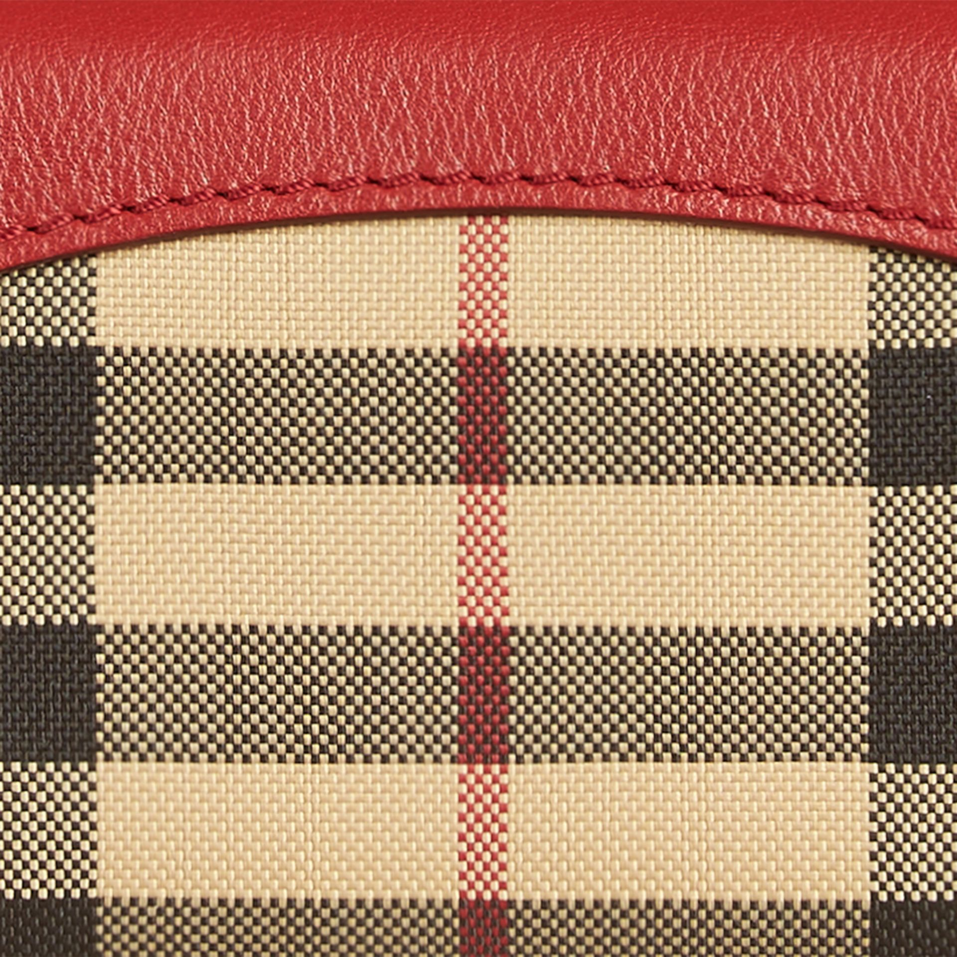 Horseferry Check and Leather Card Case Parade Red - gallery image 2