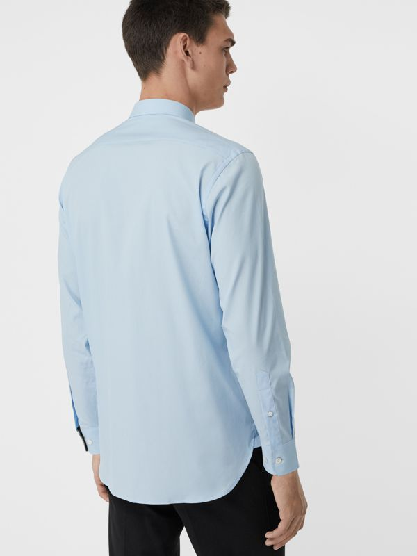 Stretch Cotton Poplin Shirt in Pale Blue - Men | Burberry Australia - cell image 2