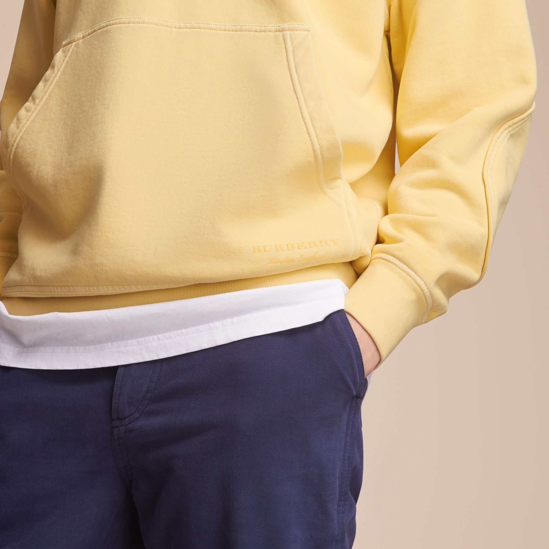 Unisex Pigment-dyed Cotton Oversize Sweatshirt in Pale Yellow - Men | Burberry Hong Kong - gallery image 5
