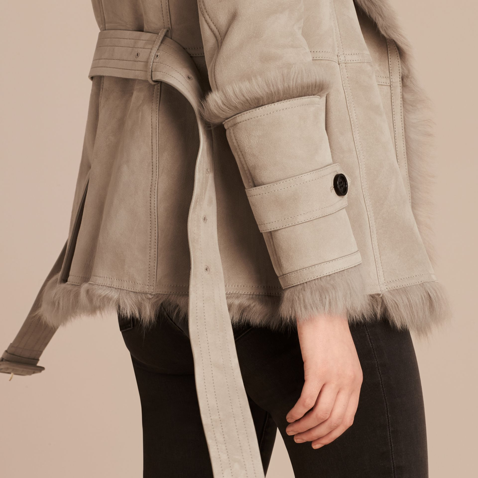Pale grey Shearling Wrap Jacket - gallery image 5