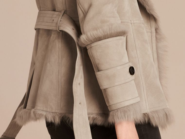 Pale grey Shearling Wrap Jacket - cell image 4