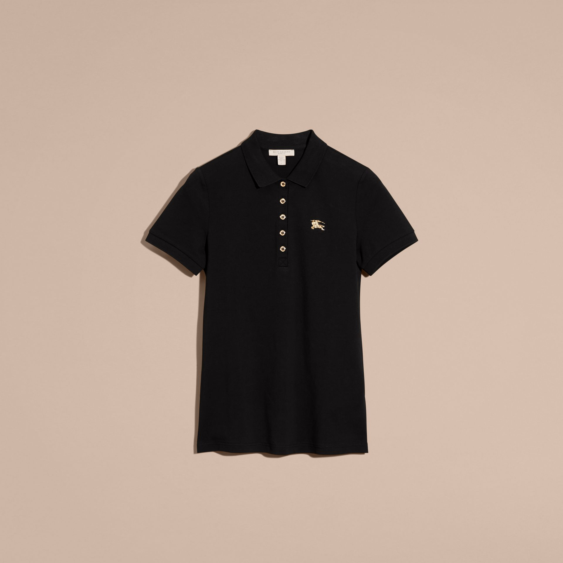 Black Stretch Cotton Piqué Polo Shirt Black - gallery image 4