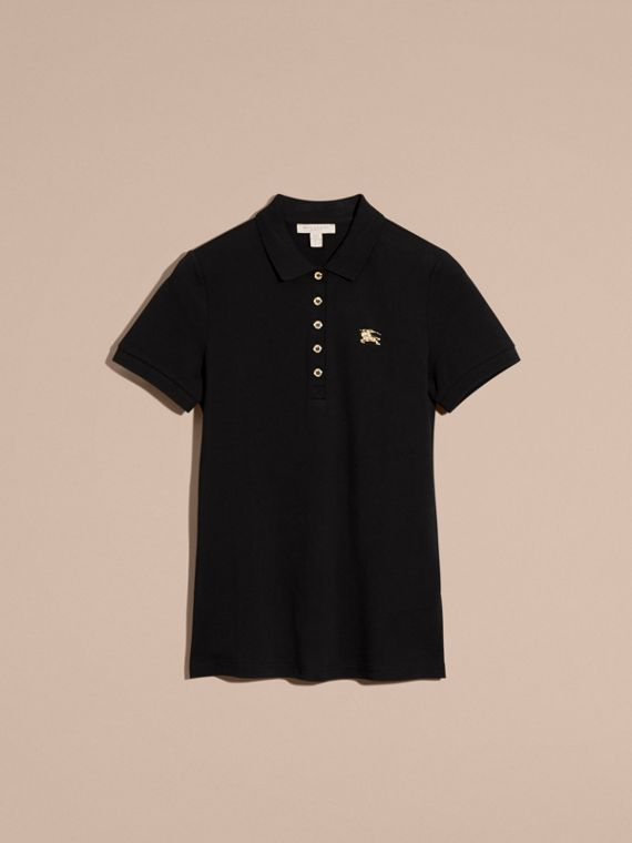 Black Stretch Cotton Piqué Polo Shirt Black - cell image 3