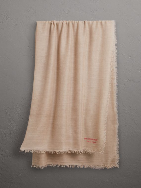 Embroidered Cashmere Cotton Scarf in Stone