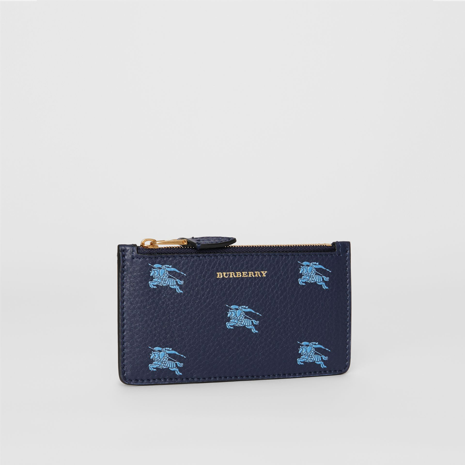Equestrian Knight Leather Zip Card Case in Regency Blue - Women | Burberry - gallery image 4